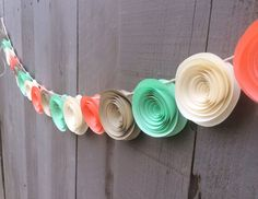 Items similar to Coral - Mint - Gold - Cream Garland - Paper Flower - Baby Shower - Wedding Banner - Baby Shower Bunting - wedding bunting - Photo backdrop on Etsy Bridal Shower Chair, Bridal Shower Backdrop, Bridal Shower Decorations, Baby Shower Bunting, Baby Shower Flowers, Baby Shower Themes, Shower Ideas, Wedding Bunting, Garland Wedding