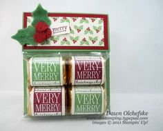 Nuggets Very Merry Wrap Video It's a Wrap Holidays, Holly Berry Bouquet DSP, Winter Wishes Stitched Felt (Holly Leaves & Berries) Stampin' Up!It's a Wrap Holidays, Holly Berry Bouquet DSP, Winter Wishes Stitched Felt (Holly Leaves & Berries) Stampin' Up! Christmas Favors, Christmas Paper Crafts, Christmas Projects, Holiday Crafts, Handmade Christmas, Holiday Candy, Christmas Candy, Christmas Medley, Candy Crafts