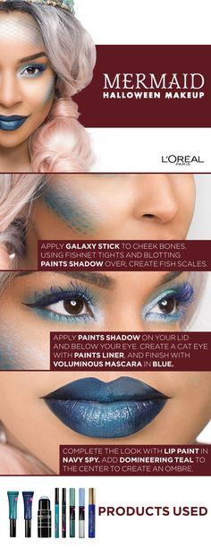Mermaid Halloween Makeup Tutorial using Infallible Paints, Infallible Galaxy Stick, and Voluminous mascara. Click to watch the video tutorial featuring Beauty by Stephanie Lee.