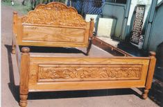Front Door Design Wood, Wood Bed Design, Bed Furniture, Furniture Design, Dressing Table Design, Pooja Room Design, Wood Carving Designs, Cots, Pooja Rooms