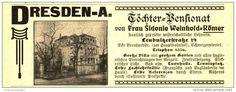 Original-Werbung / Anzeige 1907 - TÖCHTER-PENSIONAT / DRESDEN LEUBNITZER  STRASSE  - ca. 115  x 45 mm