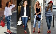 How to Wear Red Shoes. Few items are as sensual as red shoes, right? It is an accessory that adds personality and distinction to any outfit, but can also ruin the look if you don't know. Outfit Jeans, Cute Outfits With Jeans, Shoes With Jeans, Jean Outfits, Casual Outfits, Outfit Work, Outfits With Red Shoes, Office Outfits, Gifs