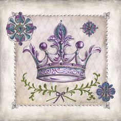 Art Print on Premium Semi-matte Photo Paper. Decoupage Vintage, Decoupage Paper, Vintage Paper, Crown Painting, Shabby, Crown Royal, Mural Art, Vintage Pictures, Vintage Posters