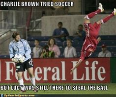 Charlie Brown tried soccer but Lucy was still there to steal the ball   #CSR #Soccer #Soccer4SocialChange #SupportSoccer