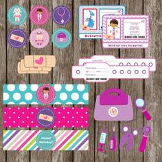 $19.99 Doc McStuffins Printable Party Kit including doctor badges, wristbands, band-aid stickers, and more!