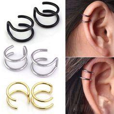 1Pair 2 Colors Non-Piercing Magnet Ear, Nose Stud Fake Earrings Various Shape #ebay #Fashion