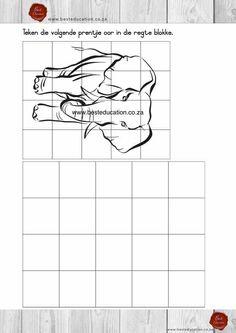 Teken die prentje oor in die blokke Kuns Graad 6 - www.besteducation.co.za Worksheets, Diagram, Math Equations, Education, Grid, Pets, Animals, Animals And Pets, Animales