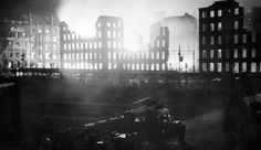 Manchester Blitz, Piccadilly Gardens west side buidlings aflame