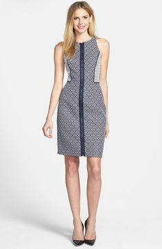 Front Zip Jacquard Sheath Dress