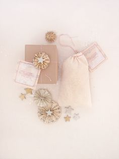 love the christmas wrapping and calico bag with red stitching and red bakers twine