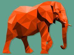 Orange Elephant Illustration
