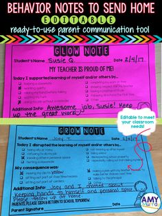 Notes to Send Home (Editable!) Behavior Notes to Send Home - Editable! Improve parent communication about their kid's behavior. Keep documentation of students' good and bad behaviors with these printable glow & grow notes! These work great in PBIS classr 3rd Grade Classroom, School Classroom, Classroom Ideas, Classroom Organization, Future Classroom, Classroom Procedures, Classroom Rules, Classroom Behavior Management, Behaviour Management