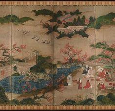 Detail. Maple Viewing Screen. National treasure By Kanō Hideyori 1 six-fold screen Color on paper  Muromachi -Azuchi-Momoyama period/16th century. Tokyo National Museum