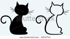 Black cat silhouette - stock vector