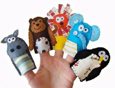Zoo Animals Finger Puppets / Felt Children's Puppet / Kids Toys / Hippo / Monkey / Lion / Elephant / Penguin