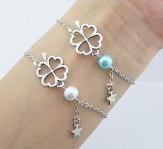 Clover Bracelet,Pearl,Flower,Tiny Star Jewelry Silver Chain Four Leaf Clover Charm Women Daily Fashion Jewelry,Bridesmaid,Party Wedding,Christmas Gift Have a free beautiful gift box Bracelet size:6 inches + 2.5 extension chain Necklace size:18 inches + 2.5 extension chain If you need to change the length of the bracelet or necklace please contact me, or Write in the order note let me know. Try to keep it away from water to keep it from fadi...