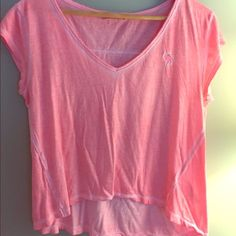 Tank top Super cute Abercrombie & Fitch pink distressed looking tank. Has slight low- high effect. As can see in the pictures the front exposes some slight skin. Has very small hole on left side. Size medium. Abercrombie & Fitch Tops Tank Tops