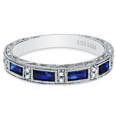 "Kirk Kara ""Charlotte"" Blue Sapphire Baguette and Diamond Wedding Band · SS6685-B1 · Ben Garelick Jewelers"