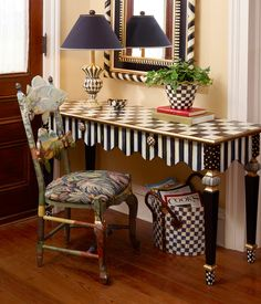 Courtly Checks® and Courtly Stripes, rich with texture and infused with color, as only our artisans can do. The beautifully proportioned Courtly Stripe Console Table features a graceful scalloped-edge apron, corner blocks studded with gold Decor, Furniture, Redo Furniture, Repurposed Furniture, Painted Chairs, Whimsical Furniture, Furniture Inspiration, Mackenzie Childs Furniture, Whimsical Painted Furniture