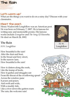 Grade 4 Reading Lesson 9 Poetry – The Rain