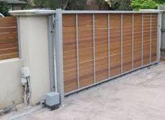 Image result for steel frame gate wood slats