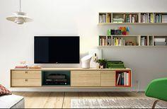 mueble salon television - Buscar con Google Wall Unit Designs, Tv Unit Design, White Credenza, Credenza Shabby, Credenza Ikea, Rack Tv, Muebles Living, Home Tv, Interior Decorating