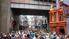 Only guaranteed ways to beat the crowds at the Wizarding World of Harry Potter.  Crowds inside WWoHP - Diagon Alley.