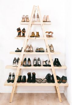 6 Smart Ways To Store Your Shoes #refinery29  http://www.refinery29.uk/shoe-storage-solutions-easy#slide-1  This one requires a little DIY, but it's worth it for the smug satisfaction that comes from completing something that you've crafted with your own fair hand. Follow the tutorial by A Spare And A Pair, or if you're not one for donning tools, just lean a single ladder against a wall and hook ...