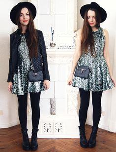 Motelrocks Spearmint Sequin Dress, H&M Divided Hat, Persunmall Jacket, Zealotries Bag, Wholesale7 Boots