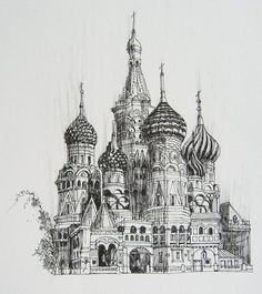 Architecture Drawing Discover Kremlin Russia Print Giclee From My Original Drawing Architecture Concept Drawings, Architecture Sketchbook, Art Sketchbook, Art And Architecture, Landscape Pencil Drawings, Art Drawings Sketches, Ink Pen Drawings, Cityscape Drawing, Building Drawing