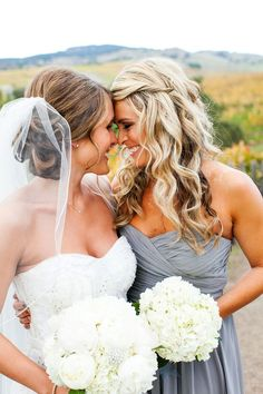 What is a bride without her maid of honor? These heartwarming bride and maid of honor photos are sure to to showcase your special relationship. Perfect Wedding, Dream Wedding, Wedding Day, Trendy Wedding, Wedding Shot, Hair Wedding, Wedding Reception, Wedding Gifts, Wedding Rustic