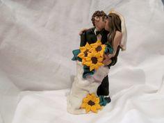 Sierra & Dillon Sunflower Wedding Cake Topper by JesseMcCoyRoberts, $85.00