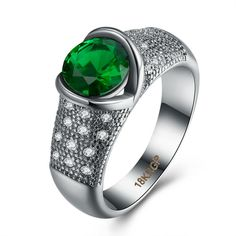 Wholesale and Fancy White Gold Round Green Glass Love Heart Carter Ring For Women Girl Engagement Party Anel Jewelry Bijoux