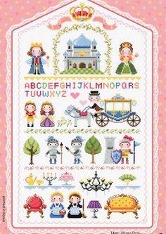 Croce moderna carino cucire schemi e kit - piccolo regno con storia libri personaggi e motivi, campionatori libro storia