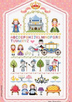 Cute modern cross stitch patterns and kits - little kingdom featuring story books characters and motifs, story book samplers