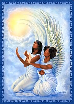Angels II Magnet illustrates two black angels kneeling and praying amidst clouds. African American Expressions, African American Art, American History, Caricatures, Angel Images, Angel Pictures, Black Jesus, Black Love Art, I Believe In Angels