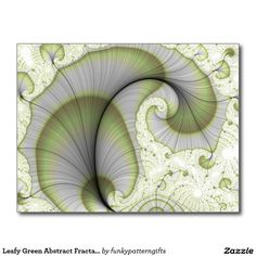SOLD Leafy Green Abstract Fractal Pattern Postcard