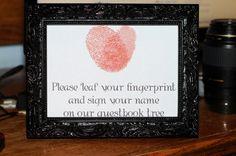 Sign for fingerprint tree guestbook