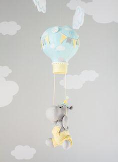 Items similar to Yellow, Blue and Gray Hippo, Hot Air Balloon Baby Mobile Nursery Decor, Travel Theme Nursery, on Etsy Nursery Décor, Nursery Themes, Travel Theme Nursery, Baby Hippo, Hanging Mobile, Baby Store, Travel Themes, Baby Room Decor, Hot Air Balloon