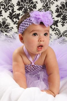 Jeweled Lavender Lace Baby Headband