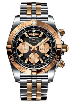 Buy Breitling Chronomat 44 Steel and Rose Gold Polished Bezel Pilot Two Tone Bracelet Watches, authentic at discount prices. All current Breitling styles available. Men's Watches, Breitling Watches, Cool Watches, Fashion Watches, Men's Fashion, Fashion Styles, Breitling Chronomat, Breitling Superocean Heritage, Patek Philippe