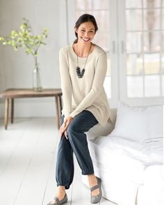 Pure Jill easy textured pullover and the Pure Jill tencel banded hem pants