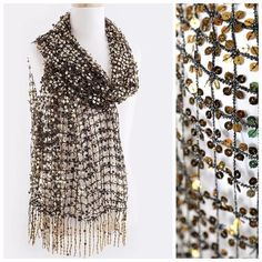 "B58 Black & Gold Full Sequin Open Weave Scarf Wrap Sequin  Scarf  Retail $145 ‼️ PRICE FIRM UNLESS BUNDLED ‼️ Unbelievably gorgeous scarf!    Gold metallic sequin on black metallic threaded netting.  Fairly lightweight so you can wear it year round.  Photos do not do justice to this scarf.  This scarf looks amazing with a basic black top or dress.  It creates the ultimate elegant look.  100% polyester.   72"" long & 21"" .  Also available in other colors.  Please check my closet for many more…"