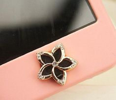 Amazon.com: eBADA Black Flower with Diamond Decorated Iphone Crystal Home Return Keys Buttons Sticker For iPhone 4S iPhone 5 iPod Touch iPad...