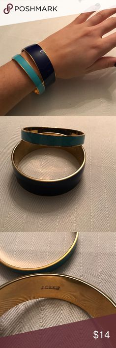 Jcrew cuff set Two jcrew cuffs. One navy blue and the other light blue. Excellent condition. J. Crew Jewelry Bracelets