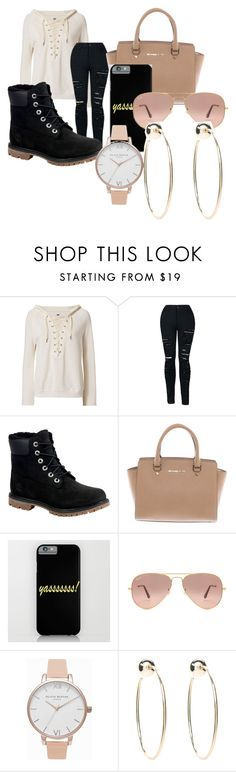 """""""Untitled #81"""" by adorably3vil on Polyvore featuring NSF, Timberland, Michael Kors, Ray-Ban, Olivia Burton and Bebe"""