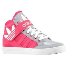 adidas Originals Hard Court Hi Strap - Girls' Grade School - Mid Grey/Vivid Berry/Glow Pink Xitlali's choice of shoes for the 5th grade