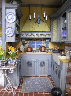 French Country miniature kitchen; love this idea for my home. Colors, style, love it all. Just bigger.