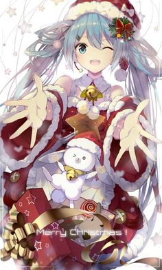 Hatsune Miku Merry Christmas to me and happy new year Vocaloid, Miku Chibi, Kaito, Anime Angel, Ange Anime, Art Manga, Anime Art, Anime Cosplay, Mery Crismas