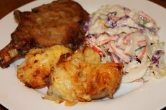 Parmesan and thyme crumbed veal chops, with apple coleslaw and cheesy paprika potatoes.... The veal was so tender and I loved how well the apple went in the coleslaw!